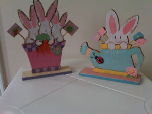 Easter Treasures -- Wood Bunny with Cart, for decoration $3 each