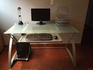 Modern tempered glass topped desk c/w accessories