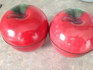 Vintage tin Apple containers