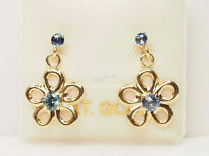 10K Yellow Gold Sapphire(0.18ct) Floral Earrings