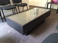 Low table glass top with end drawers