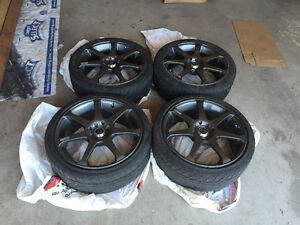 "17"" Core Racing Gunmetal Rims & tires"