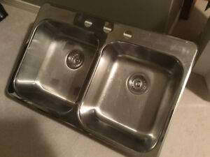 Stainless steel double sinks