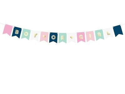 Party Flaggen (Flaggengirlande Girlande Boy or Girl, ca. 1,75 M. Babyparty Babyshower)