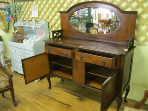 Unique Early Sideboard Buffet w/ Mirror London Ontario image 6