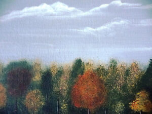 "Original Folk Art Oil Painting ""Autumn Farmland by the River"" Stratford Kitchener Area image 5"