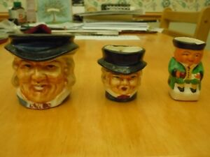 Trio of minature Toby Mugs; Handpainted Made in Japan