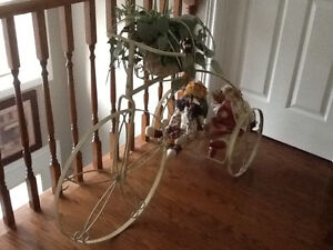 Decorative Bicyle - steel, with plant holder, 3 doll riders.