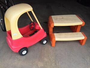 Little tikes car and picnic table