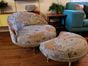 Amazing mid-century modern chair and footstool