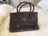 Genuine snakeskin ladies grey handbag