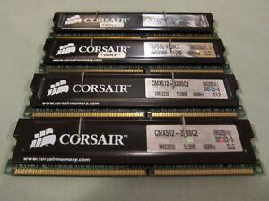 Corsair 2GB (4x512MB) 184-pin DIMM PC3200 DDR CL2 RAM