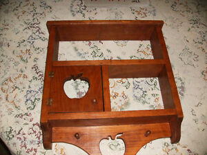 Hand Crafted Wall Cabinet with Apple Cutouts