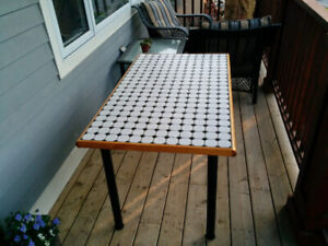 Tile Top Table With Solid Oak Trim
