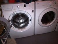 LG front load washer and dryer set.