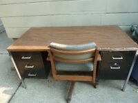 Steel Desk with 5 Doors & Chair