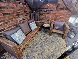 Rustic reclaimed chunky garden furniture