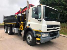 2013 63 DAF CF 75.360 6x4 Thompson steel tipper Epsilon M125L crane and grab