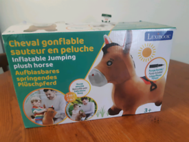 Inflatable jumping plush horse with pump