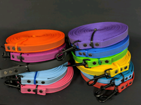 Colourful Rubber Coated 10m Longlines for Dogs