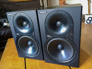 Mackie HR824 studio monitors with Mackie cases