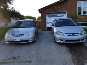 2005 standard and 2003 automatic Honda Civic 1.7L