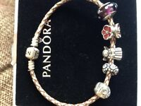 Silver pandora bracelet, 6 charms, safety chain and spacer