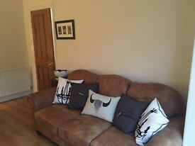Tan leather 3 seater sofa and chair - like new