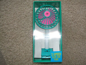 "New in box-1980's Retro 2-speed ""clip-it"" fan with flexible neck"