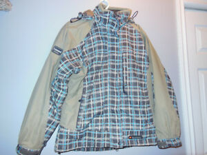 Brown Blue plaid 3 - in one winter sport jacket size large