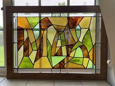 VTG Handmade Brown Amber Green Orange MAX Stained Glass Window Panel