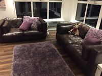 AS NEW DFS REAL LEATHER SOFAS 3+2 CAN DELIVER FREE