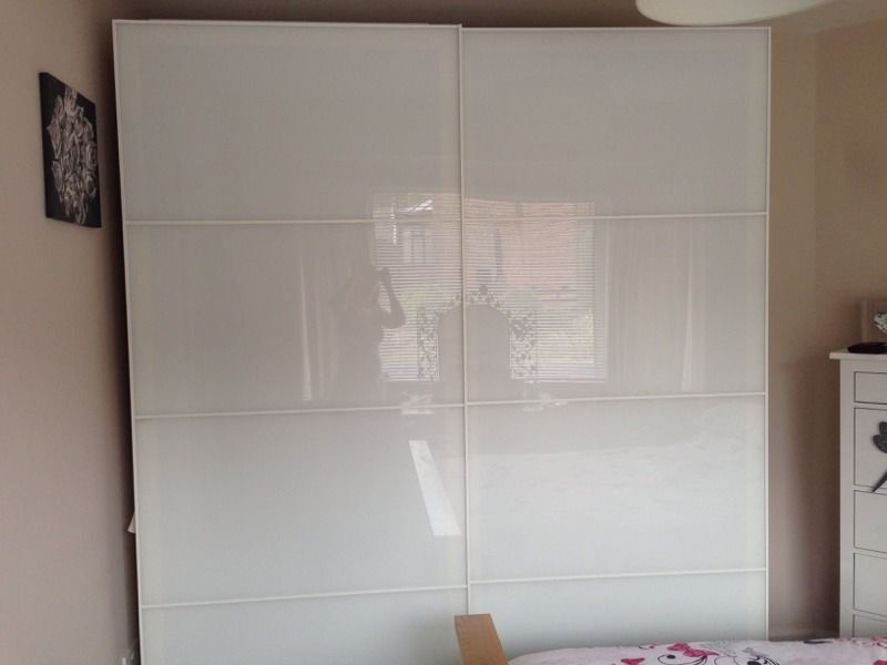 White Ikea Pax Wardrobe With Farvik Sliding Doors Lot Of