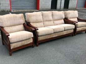 Mahogany Framed Berger Panels 3 Seater Sofa and 2 Chairs