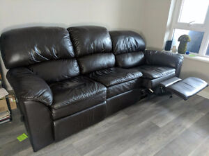 Brown (Faux) Leather Reclining Sofa