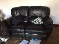 Black leather recliner sofas