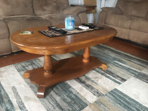 Solid Oak Coffee Table and Round End Table