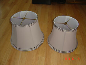 TWO TRIMMED FABRIC BELL LAMP SHADES