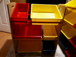 Tri-coloured children's toy room storage bins and like coloured