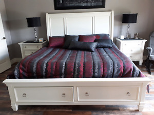 King Size Bedroom set, matress and electric fireplace