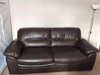 second hand 3 seat leather sofa Oakfurnitureland 95% new