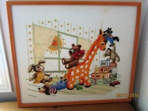 "BABY ROOM CREWEL STITCH - FRAMED 16"" X20""-reduced"