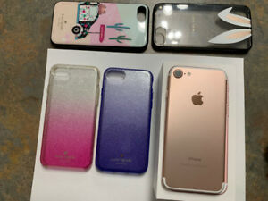 iPhone 7 Rose Gold, accessories incl 4 Kate Spade cases