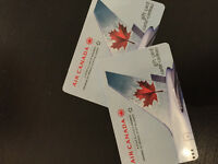 2 Air Canada gift cards.