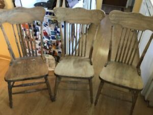3 antique chairs, stripped and ready to finish $75 QEW/Winston C