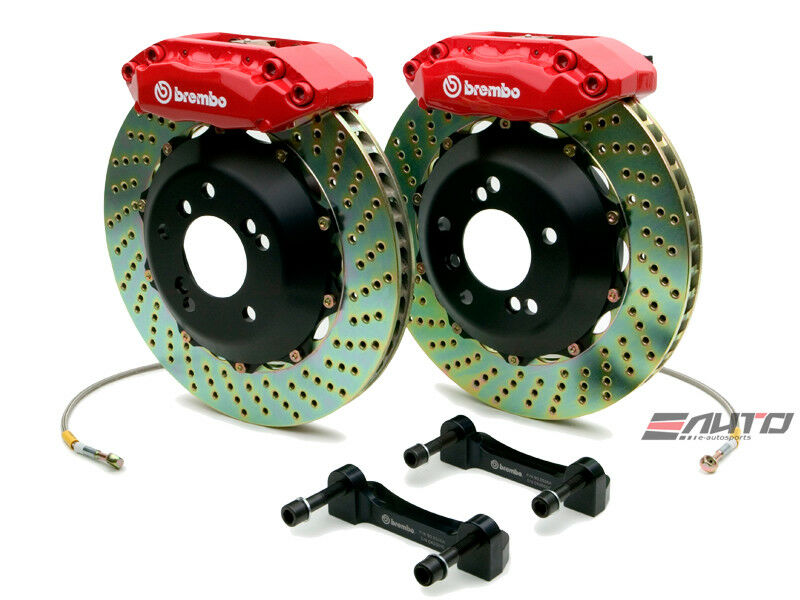 Brembo Front GT BBK Brake 4pot Caliper Red 328x28 Drill Disc S2000 00-09 AP1 AP2