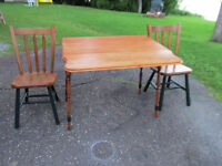 Vintage Maple Drop Leaf Table 2 Chairs