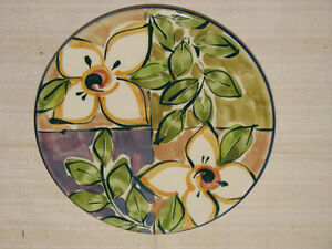 Handmade Pottery, Hanging Round Kitchen Trivet, Artist Signed