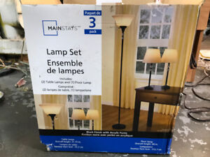 MainStays    Lamp Set ,    Set of 3 (Black Finish)