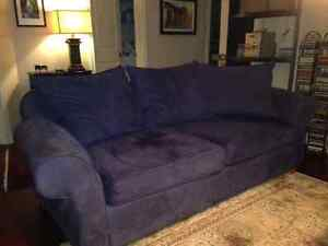 Navy blue couch and armchair for free